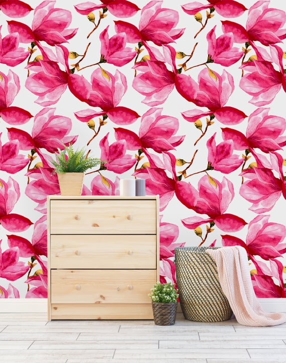Removable Wallpaper Peel And Stick Wallpaper Self Adhesive Wallpaper Pink Flowers Peel And Stick Wallpaper Wallpaper Roll Removable Wallpaper