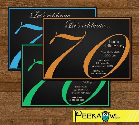 printable 70th birthday invitation card 70th birthday party invite