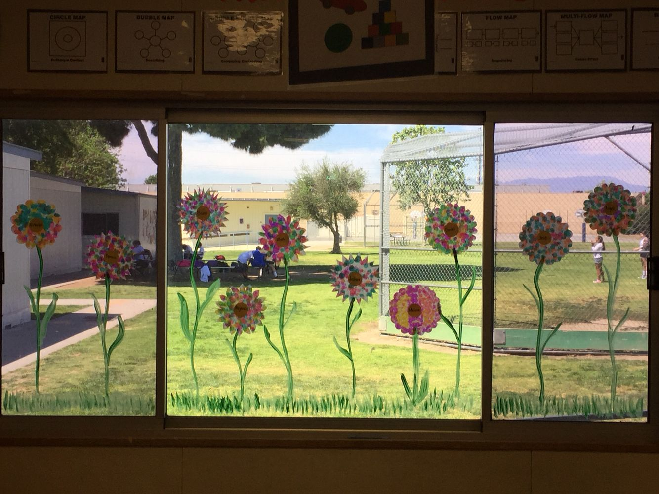 Classroom window decoration - Classroom Window Decoration Kids Made Flowers With Coffee Filters And Dot To Dot