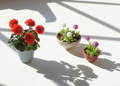 A lovely group of spring flowering pots from Little Rabbit Miniatures