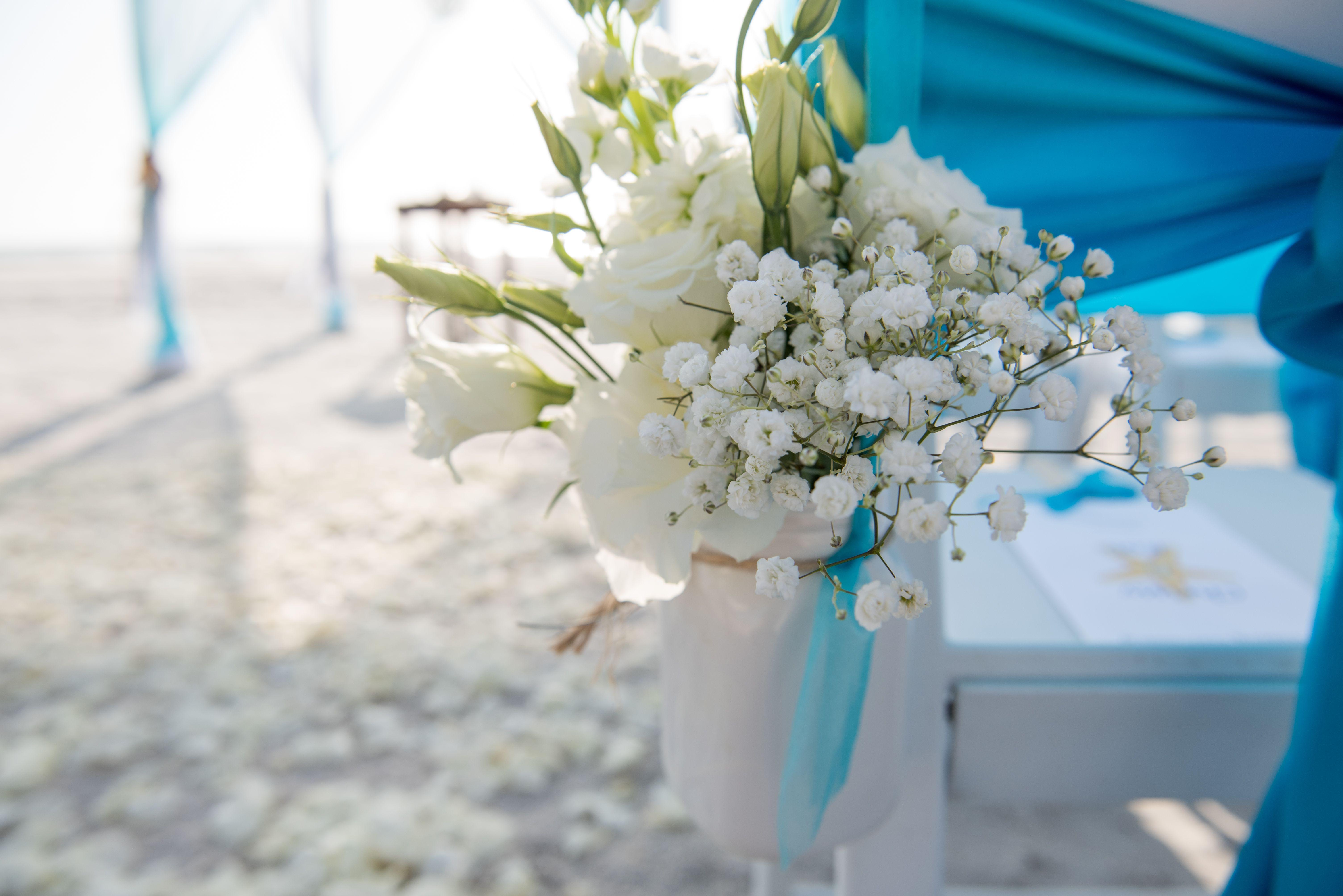 White Fresh Floral Chair Hangers Blue Wedding Theme Pinterest