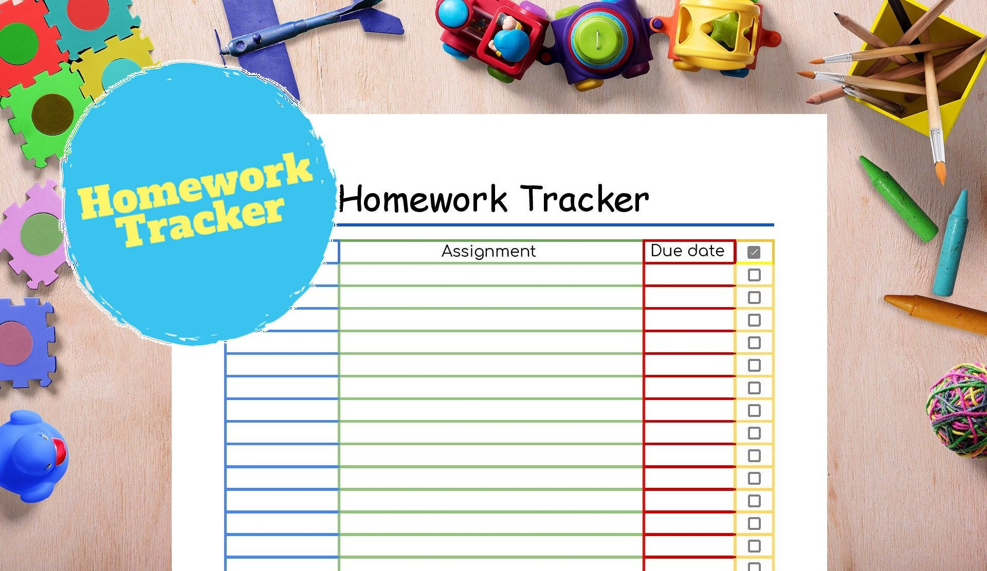 Kids Homework Tracker Assignment Tracker Grade Tracker