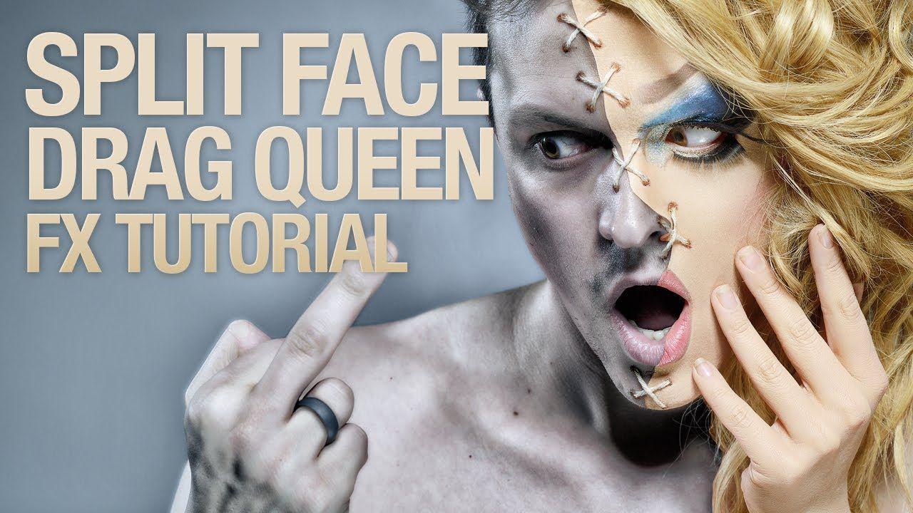 Split face drag queen fx makeup tutorial sfx makeup tutorials split face drag queen fx makeup tutorial baditri Images