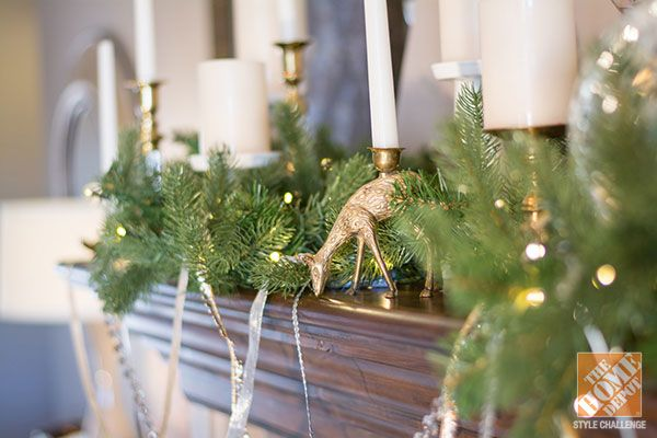 Christmas Decorating Ideas for a Rustic Glam Mantel: Lighted Garland with Brass Candlesticks