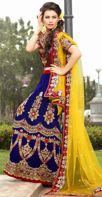 Buy royal blue velvet wedding readymade lehenga choli best price
