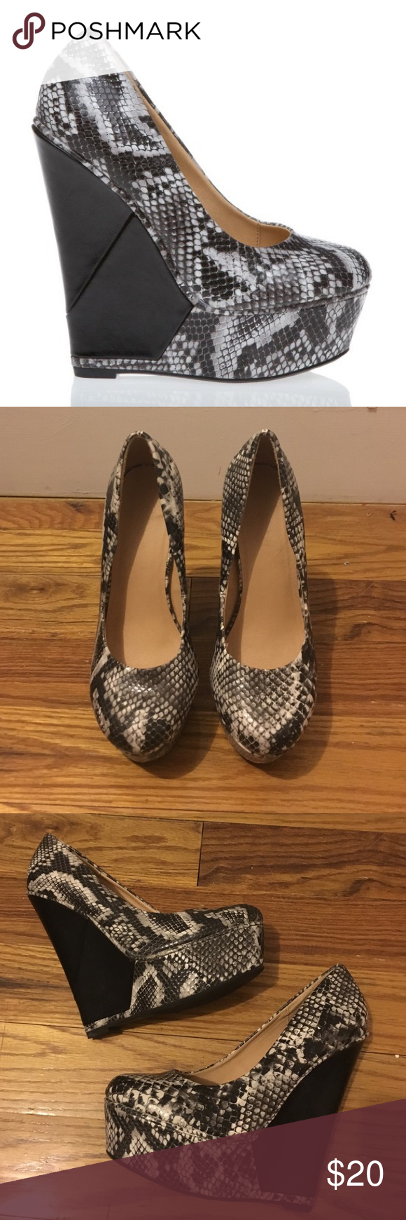Shoe dazzle Talitha Snake Print Platform Wedges Super high platform wedges. Some minor marking and knicks, but overall great condition shoe. Talitha style. First picture is stock photo. Shoe Dazzle Shoes Platforms