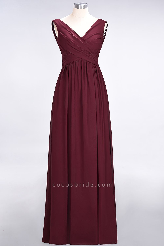 New A Line Chiffon Straps V Neck Sleeveless Floor Length Bridesmaid Dress With Ruf Cheap Bridesmaid Dresses Sleeveless Bridesmaid Dresses Bridesmaid Dresses Uk
