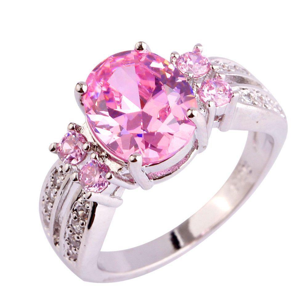 lingmei Nice Fashion Jewelry Pink & White CZ Silver Ring Sweet Women ...