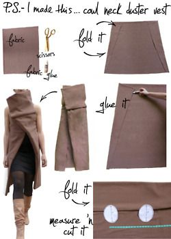 DIY Cowl neck duster vest not as long and with sleeves possibly