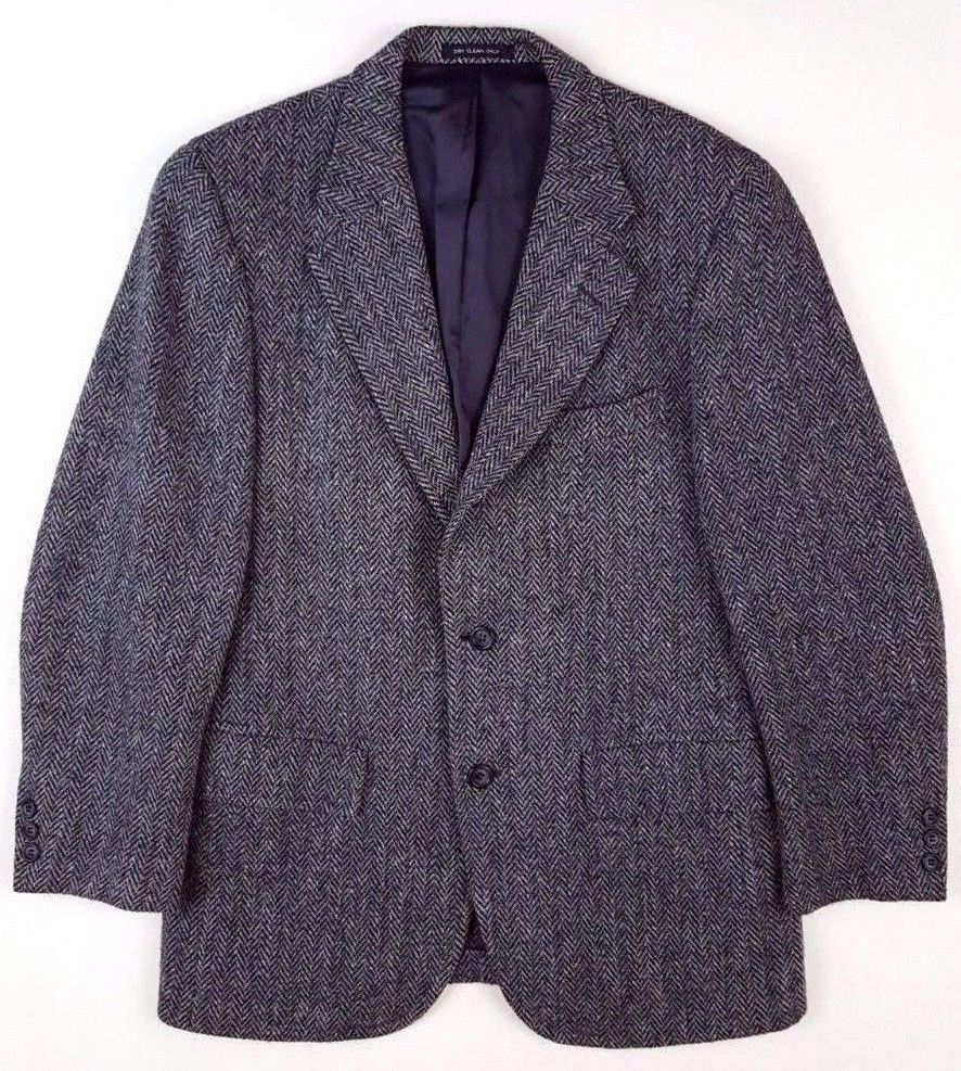 HARRIS Tweed HERRINGBONE Jacket 38 SHORT Mens GRAY Black WOOL Sz 3 ...