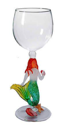 Green Mermaid Wine Glass $36.00 www.mermaidhomedecor.com