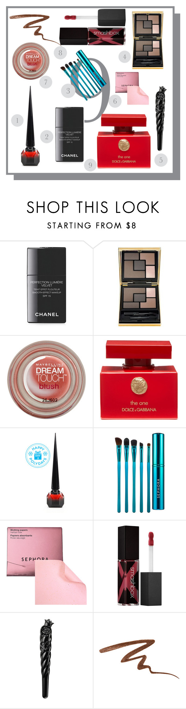 """""""Impulse Beauty"""" by ildiko-olsa ❤ liked on Polyvore featuring beauty, Chanel, Yves Saint Laurent, Maybelline, Dolce&Gabbana, Christian Louboutin, Sephora Collection, Smashbox and Anna Sui"""