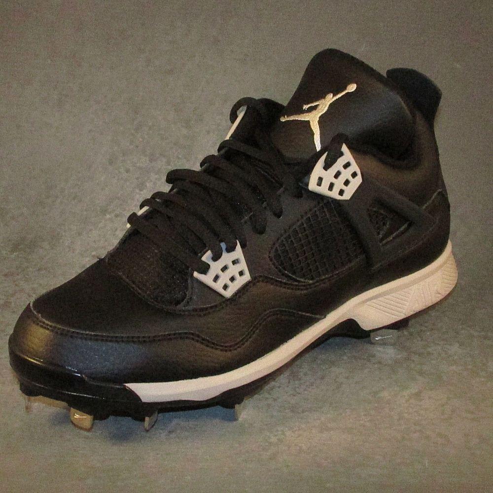 1a6f6e276e0 Nike Air Jordan IV Retro Metal Baseball Cleats MEN'S Sizes 8-11 Black #Nike