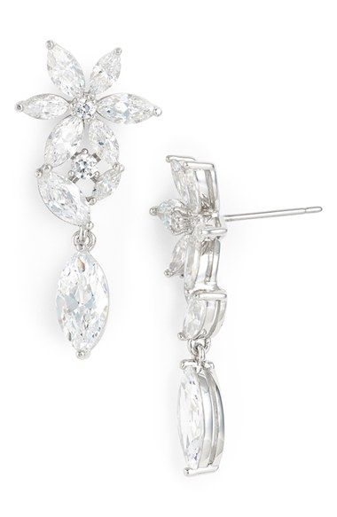 Nadri Floral Crystal Drop Earrings available at Nordstrom