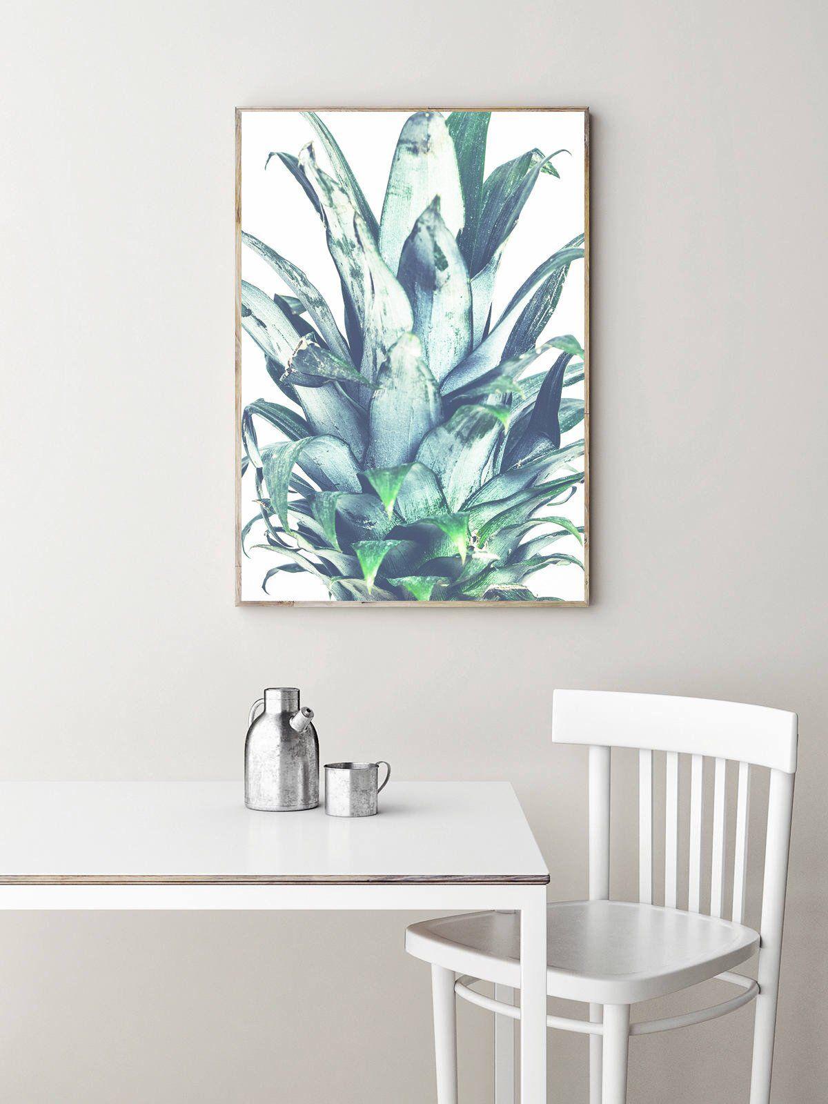 Pineapple print leaves wall art kitchen decor green poster