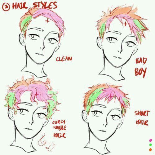 how to draw cartoon hair male