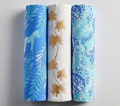 Lily Pulitzer Zebra Palm Muslin Swaddle Set Pottery Barn