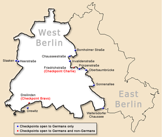 Map of the location of the Berlin Wall, showing checkpoints ... Map Of Berlin After Cold War on map of europe cold war, nato cold war, berlin wall map cold war, map of berlin world war 2, map of warsaw pact cold war,