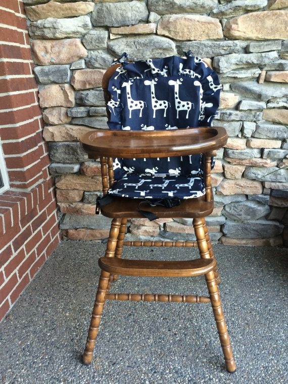 Wooden Highchair Cover Navy Giraffe Cushion For Wooden Vintage Highchairs Removable Foam For Easy Washing Opti Highchair Cover Wooden High Chairs High Chair