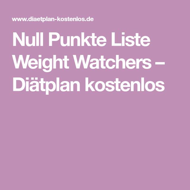 Weight Watchers Null Punkte Küche
