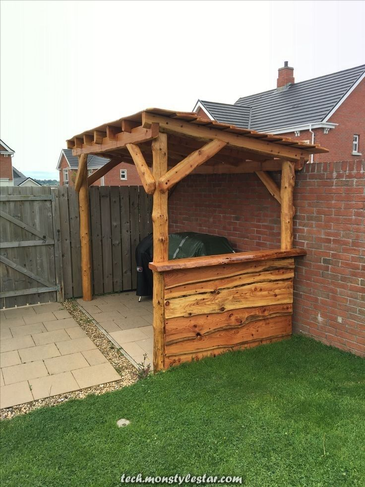 Excellent Bbq Space Manufactured From Larch In 2020 Bbq Gazebo Outdoor Bbq Kitchen Bbq Shed