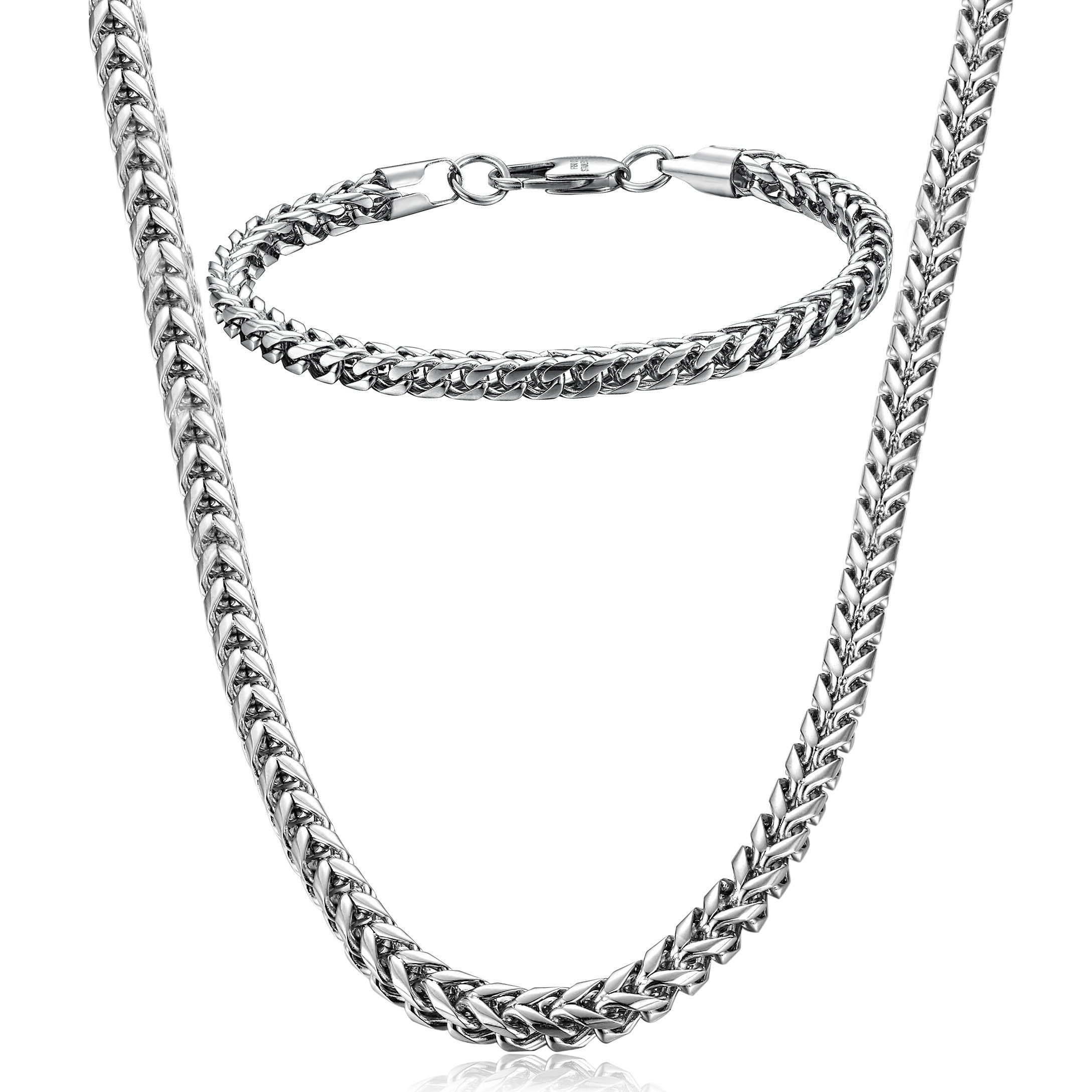 Fibo steel stainless steel wheat chain necklace for men women