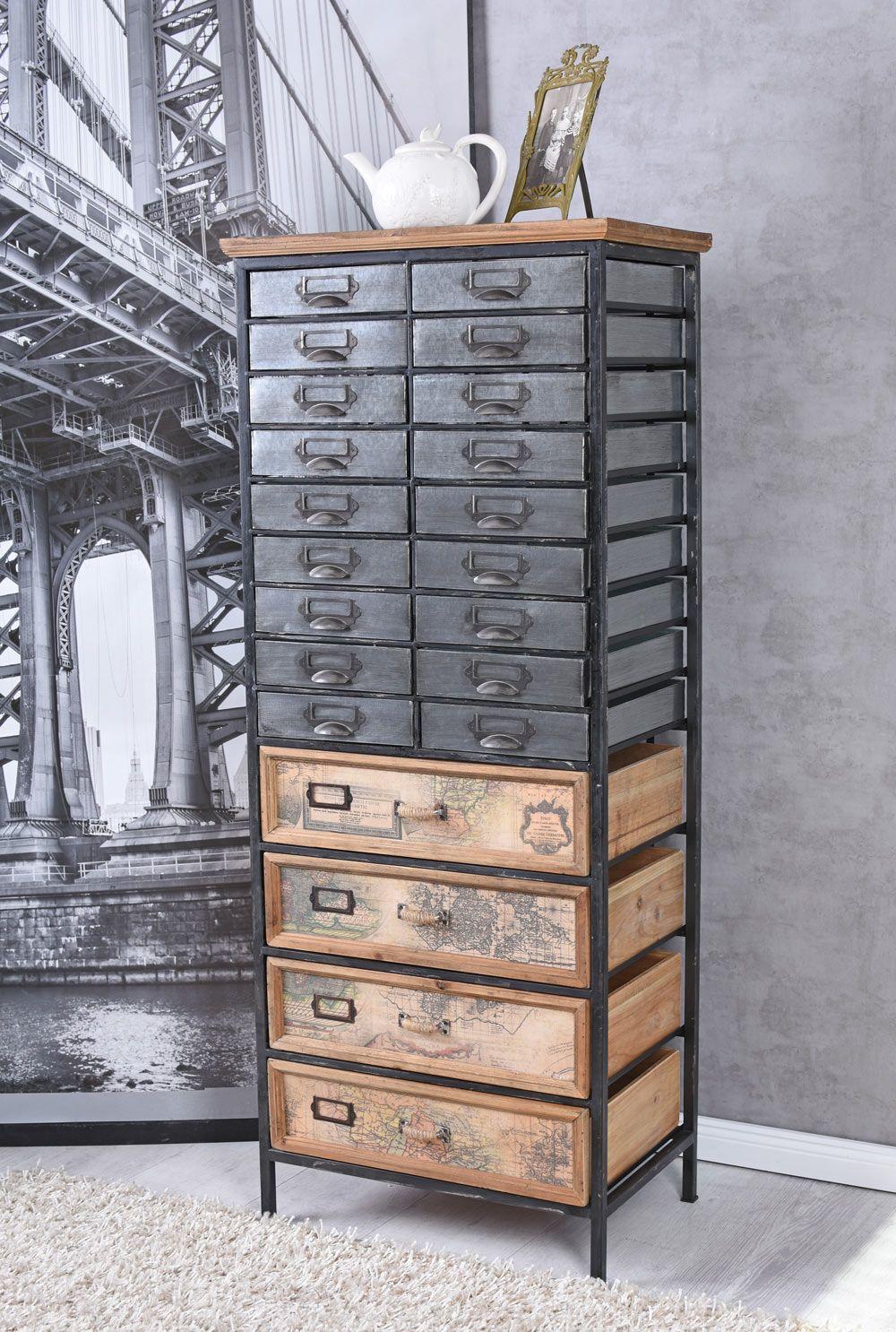 Apothekerschrank Loft Schrank Bauhaus Kommode Metallschubladen