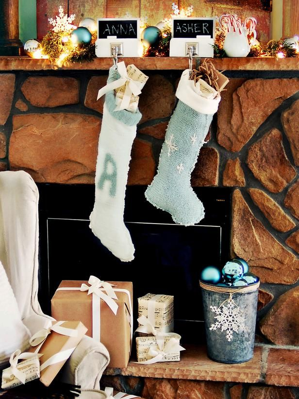 Holiday Mantel Decorations Creating Living Room Focal Point: Holiday Mantel Decorations Details With Blue, Silver And White Color Scheme Of ...