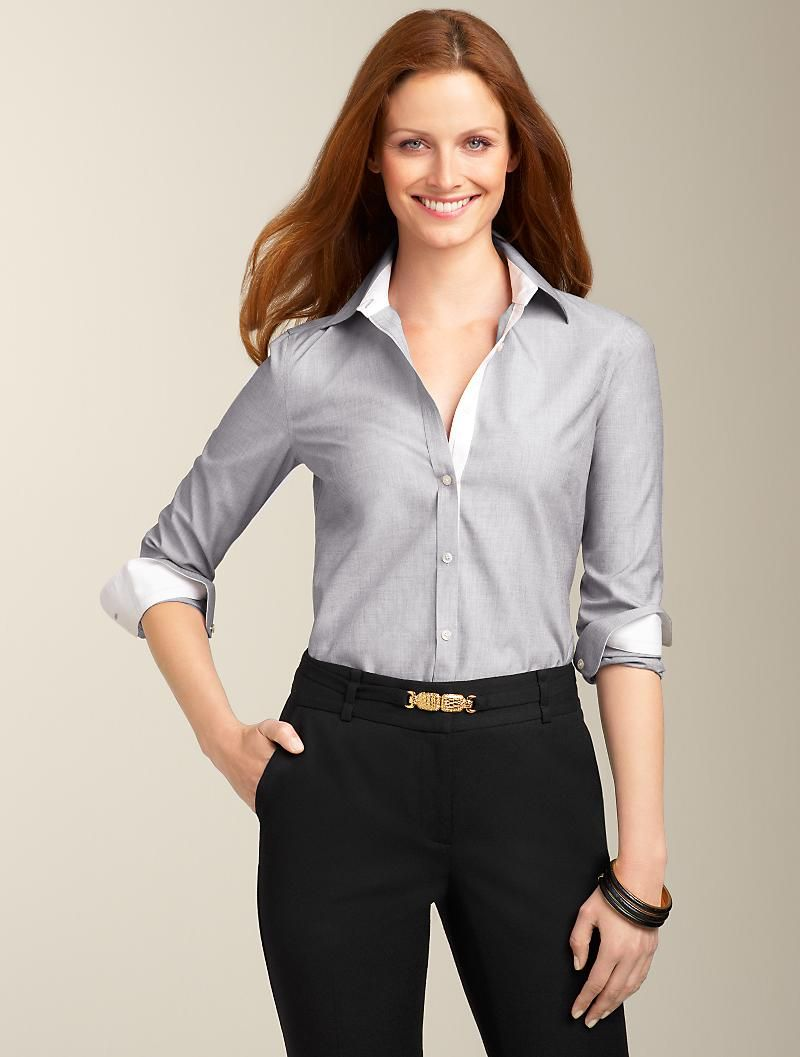 Wrinkle-Resistant End-On-End. Cotton/spandex. Machine wash. Imported. Use the click to call or click to chat links or call a customer service associate at 1-800-TALBOTS to add your monogram for $10. It's one more step we take in perfecting all the details. See Description Tab below for details. $72.50