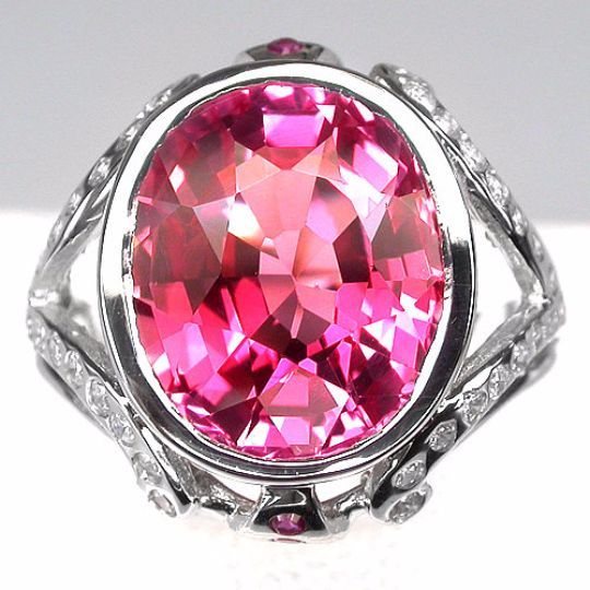 Vintage 7.84CT Oval Cut Pink Padparadscha Sapphire Round Diamond Cut White Sapphire and Ruby Accent Promise Engagement Anniversary Ring Size 6