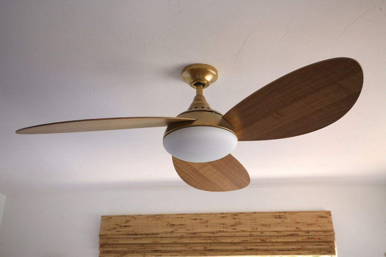 Https Suburbanpop Com 2015 05 11 My Favorite Ceiling Fan And I Painted It Gold Amp In 2020 Gold Ceiling Fan Wood Ceiling Fans Ceiling Fan