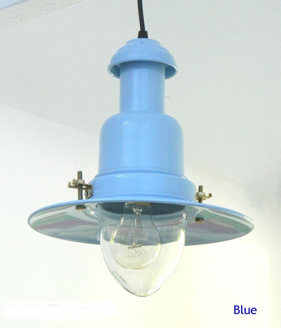 Blue Fishermans Pendant Light | 3 Sizes | Hanging Kitchen Lights ...