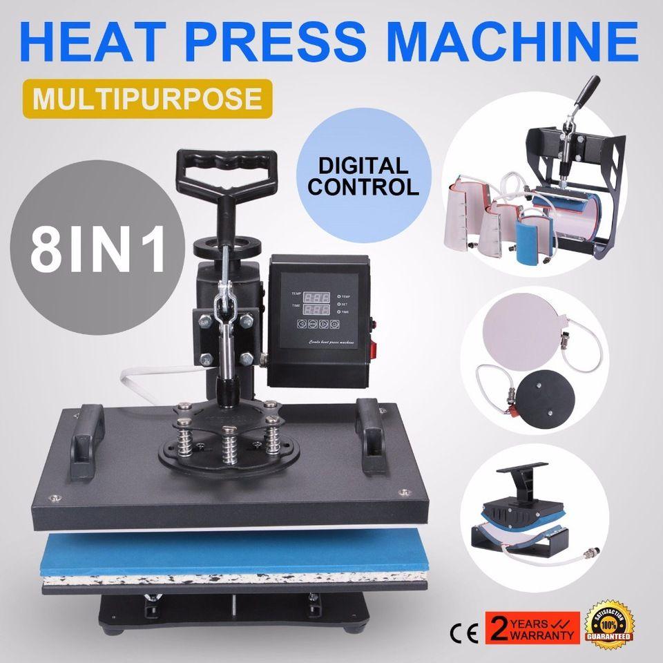 Heat Press 8 In 1 Swing Away Heat Press Machine 1000w Hat Press 15x15inch Heat Platen Multifunction Hat Mug Heat Press Machine Heat Press Heat Press Transfers