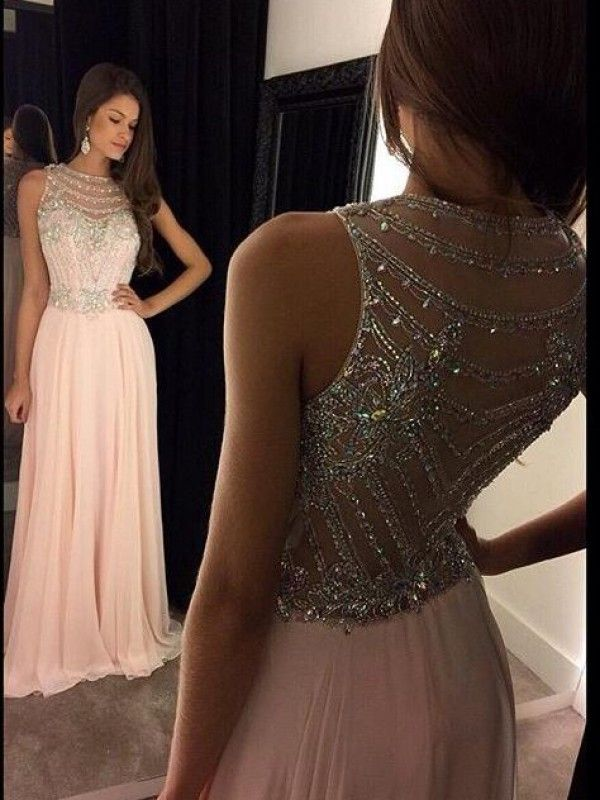 A-Line Jewel Long Pearl Pink Chiffon Prom Dress with Beading 0c52dd3b47a5