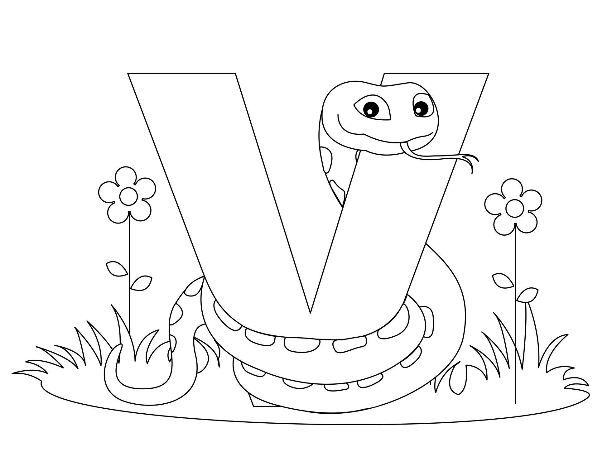 Animal Alphabet Letter V Is For Viper Alphabet Coloring Pages