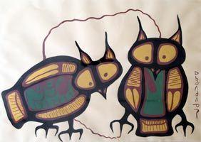 Norval Morrisseau S Owls South American Art Native American Art