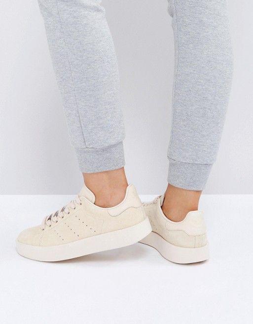 adidas Originals Stone Nubuck Stan Smith Bold Sole Sneakers