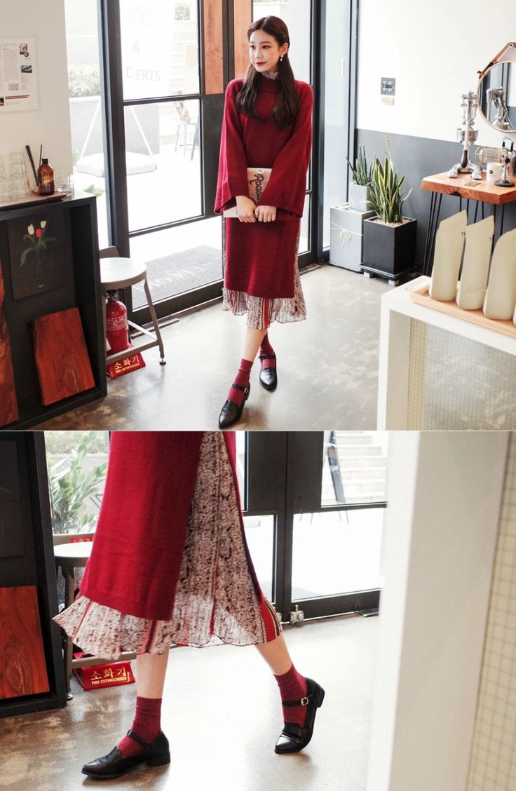 Cherryville mockneck slithem knit dress koreanfashion