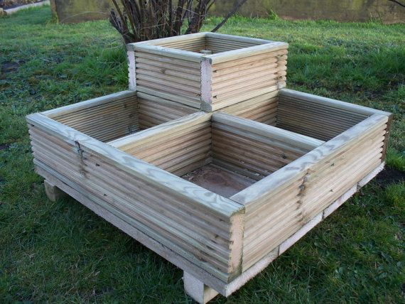 Square Decking Corner Wooden Garden Planter Wood By Bogglewood