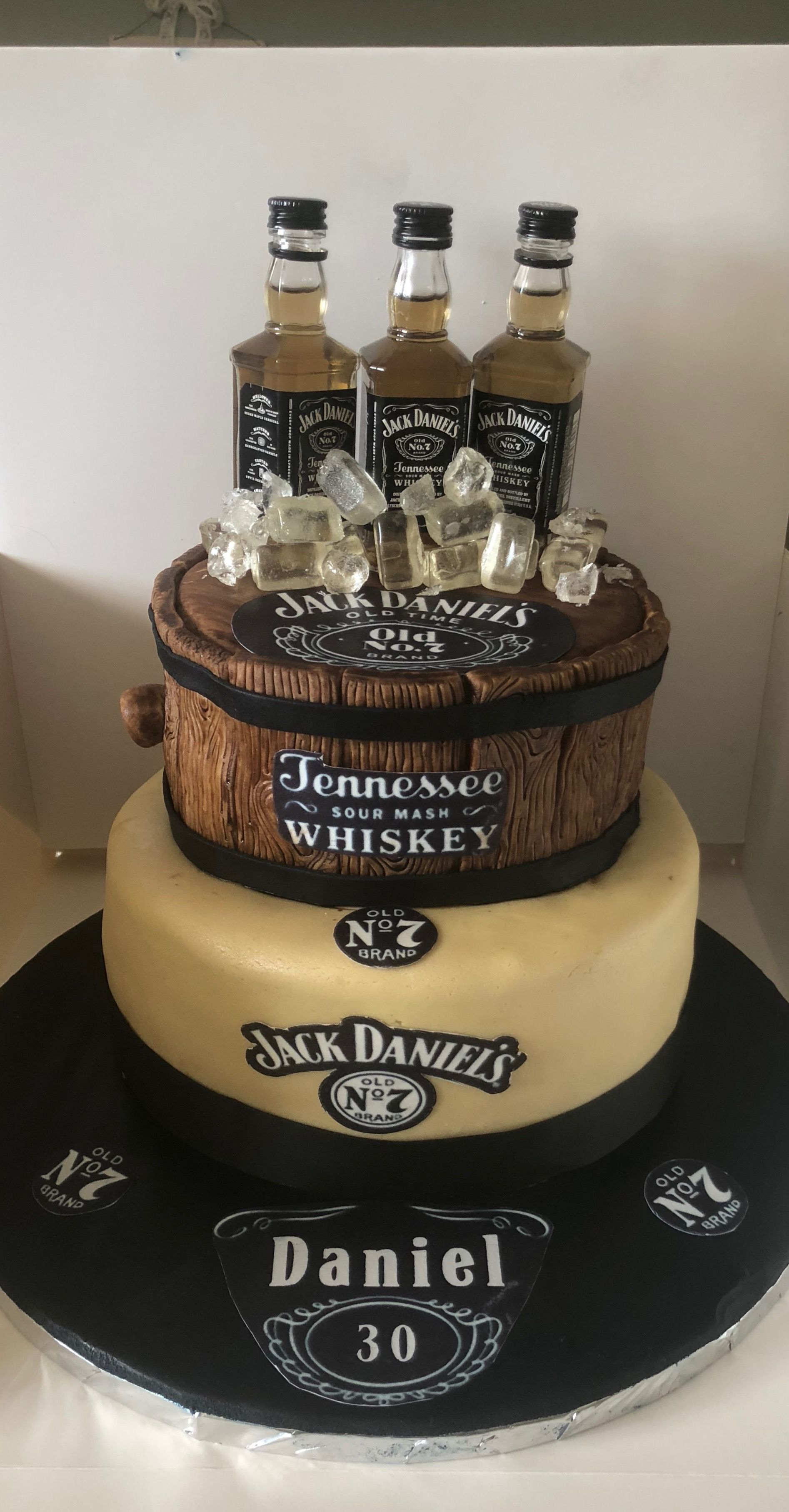 Magnificent Jack Daniels Cake I Made This For My Sons 30Th Birthday With Funny Birthday Cards Online Alyptdamsfinfo