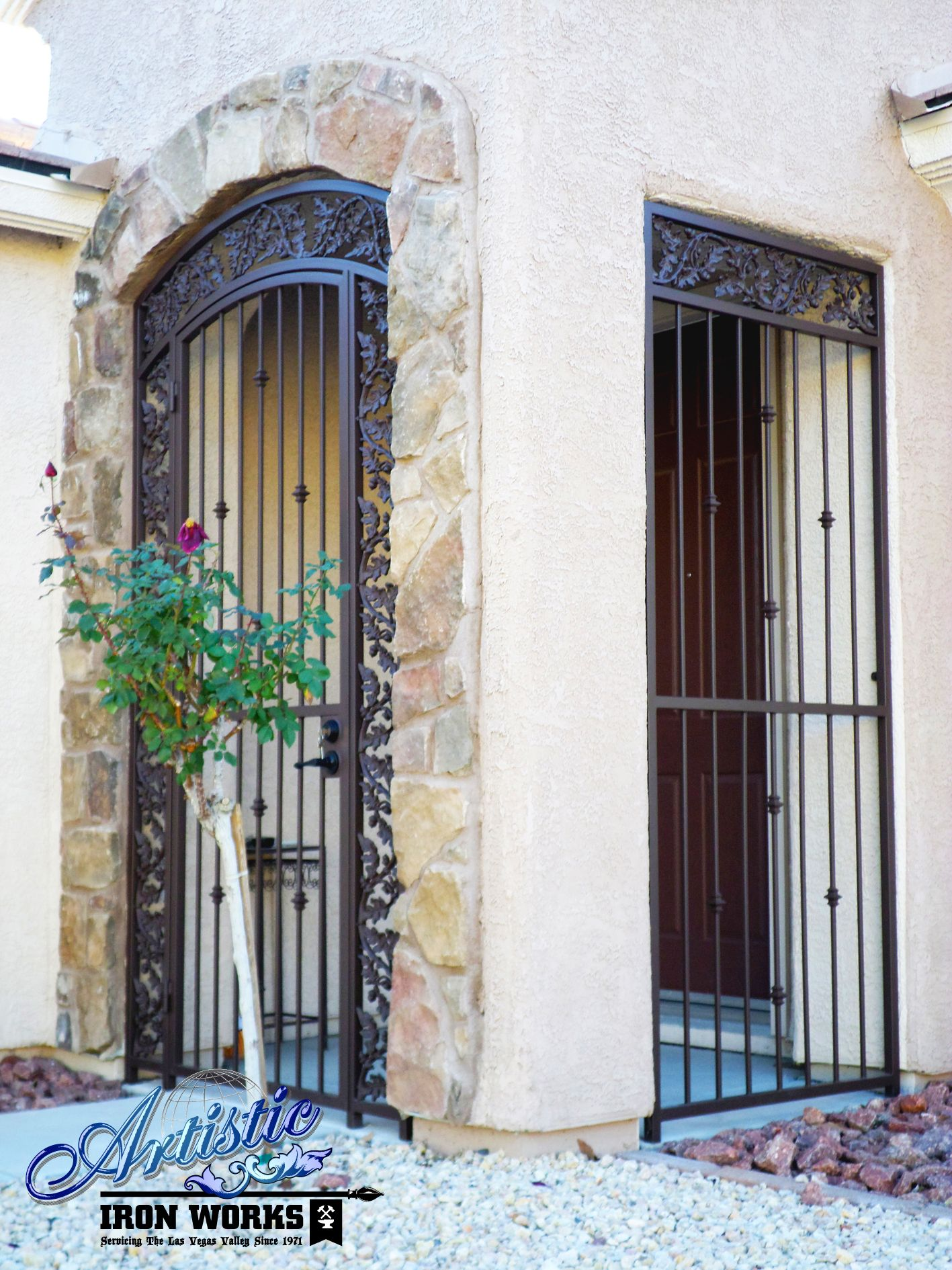 Wrought iron entry gate with porch enclosure matching ...