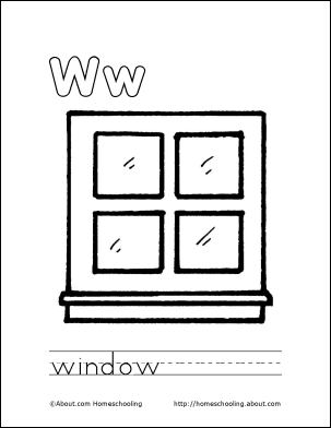 My W Book Window Coloring Page