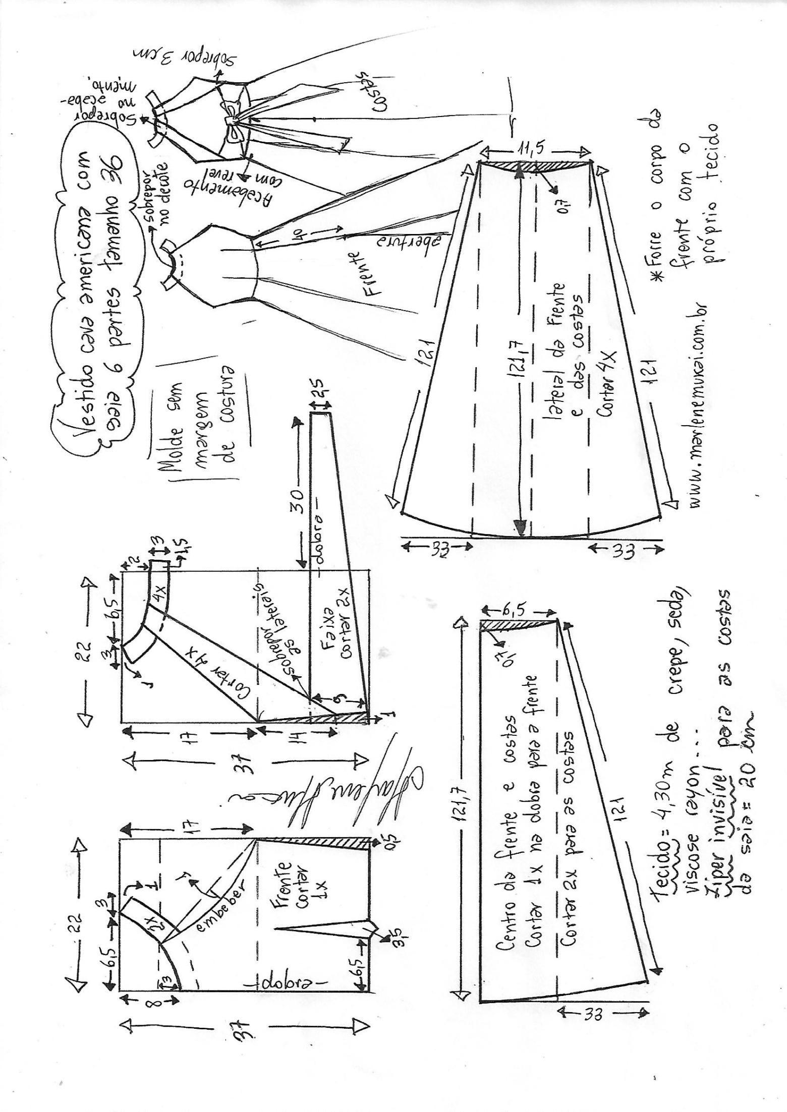 Vestido largo cava americana con saia de 6 gomos   DIY - molde ...