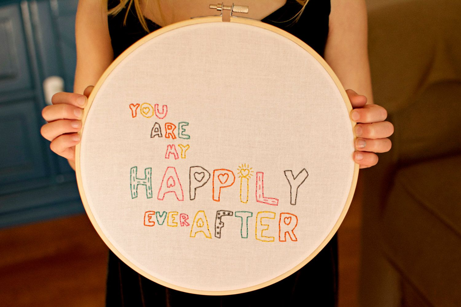 you are my happily ever after- hoop art, wall art, embroidery, love, relationship, embroidery hoop, couple, embroidery hoop art by SentimentalSundays on Etsy