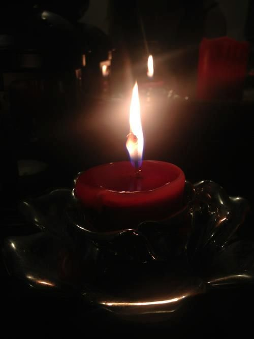 Blood red candle