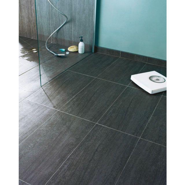 Carrelage Sol Et Mur Anthracite X Cm Oikos CASTORAMA - Carrelage sol salle de bain castorama