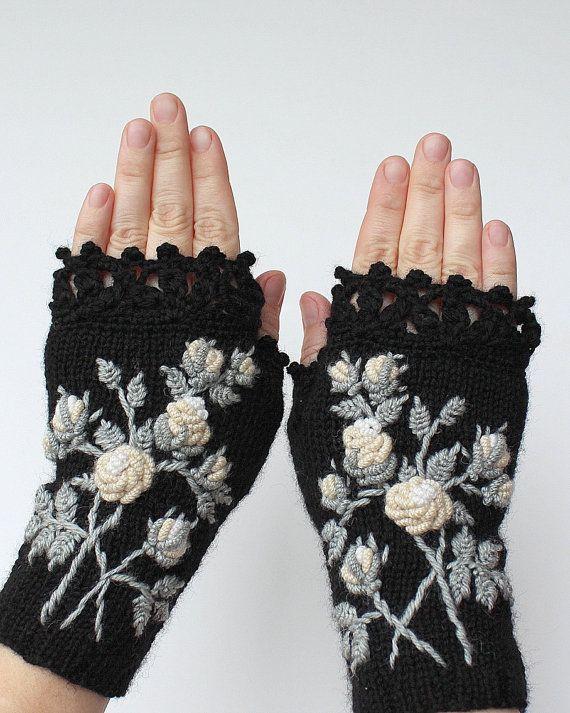 Guantes negros con rosas de marfil, guantes sin dedos de punto, guantes y mitones, ideas de regalos, para ella, accesorios de invierno, negro, marfil, rosas