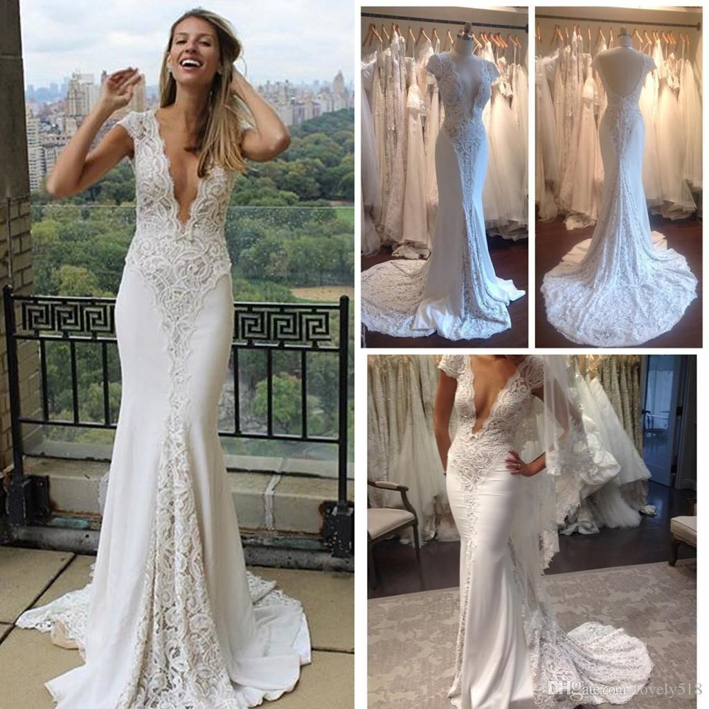 lace wedding dresses mermaid v neck cap sleeves sexy open back