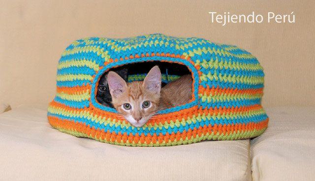 Cama para gatos tejida a crochet / Crochet cat bed or nest | CASA ...