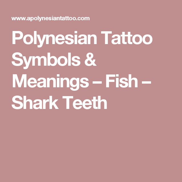Polynesian Tattoo Symbols Meanings Fish Shark Teeth Steve